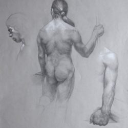 Catherine Lucas graphite drawing of male figure