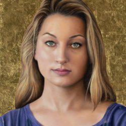 Catherine Lucas Oil portrait of woman detail