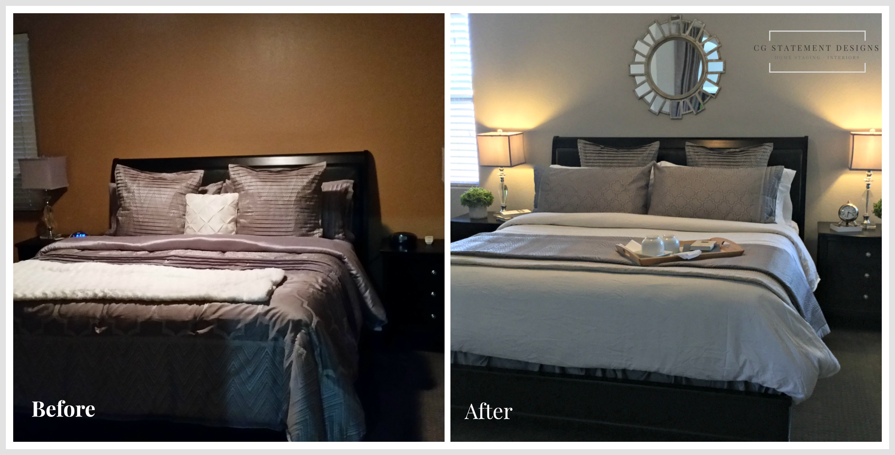 home staging redesign master bedroom before after