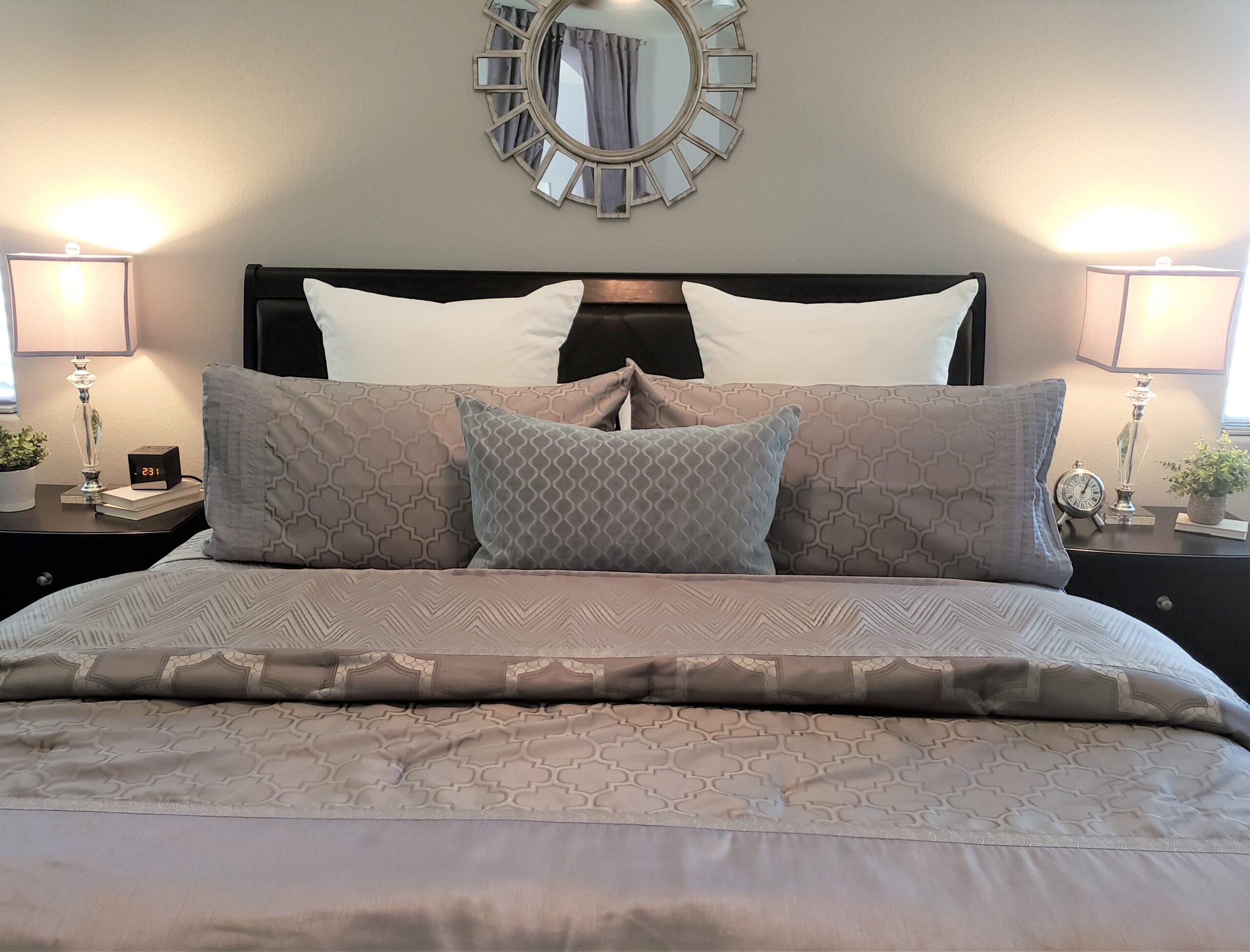staging master bedroom