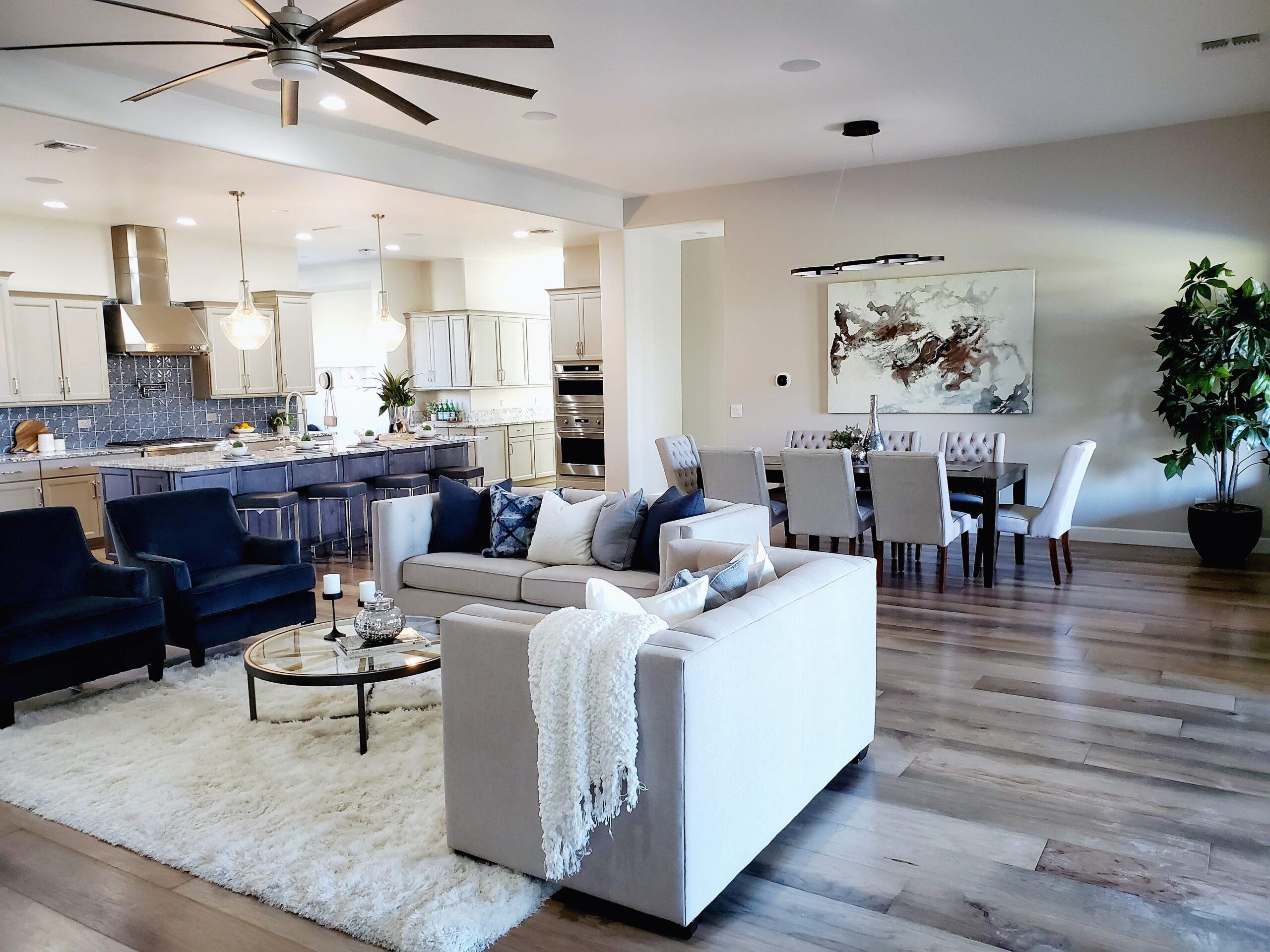 great room open floor plan staging
