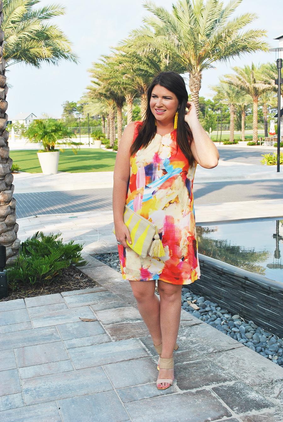 Paint Print Dress 30A Street Style 4