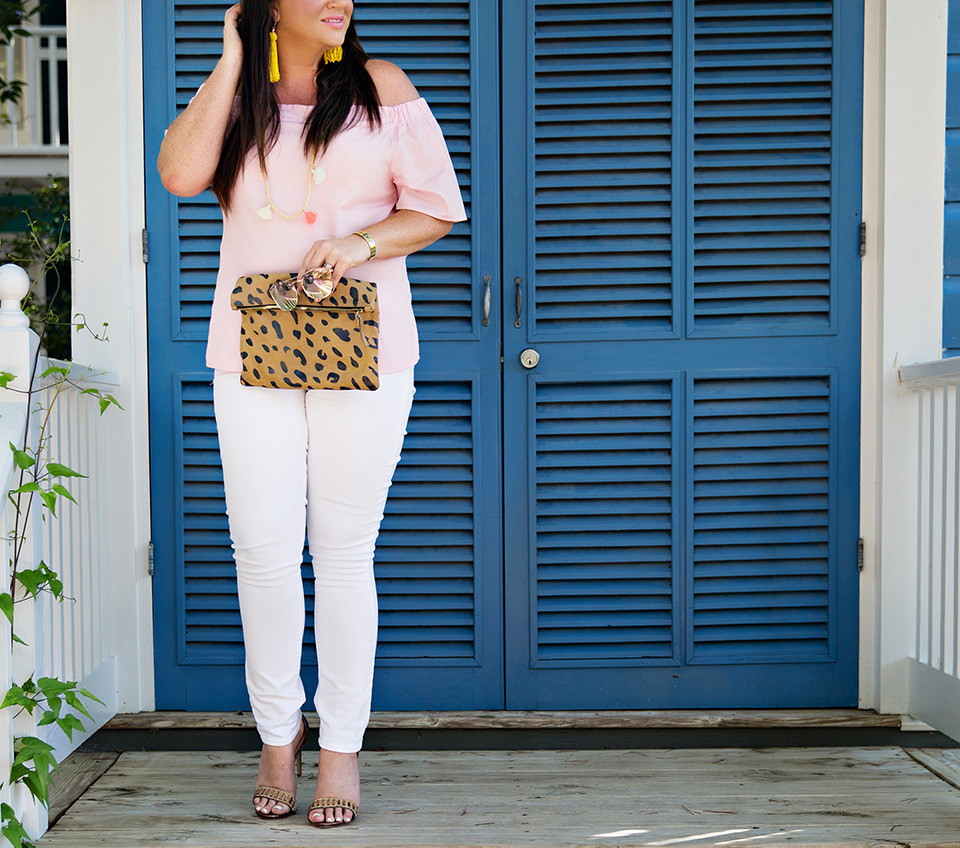 Jami Ray 30A Street Style White Jeans Pink Off the Shoulder Seaside Florida 4