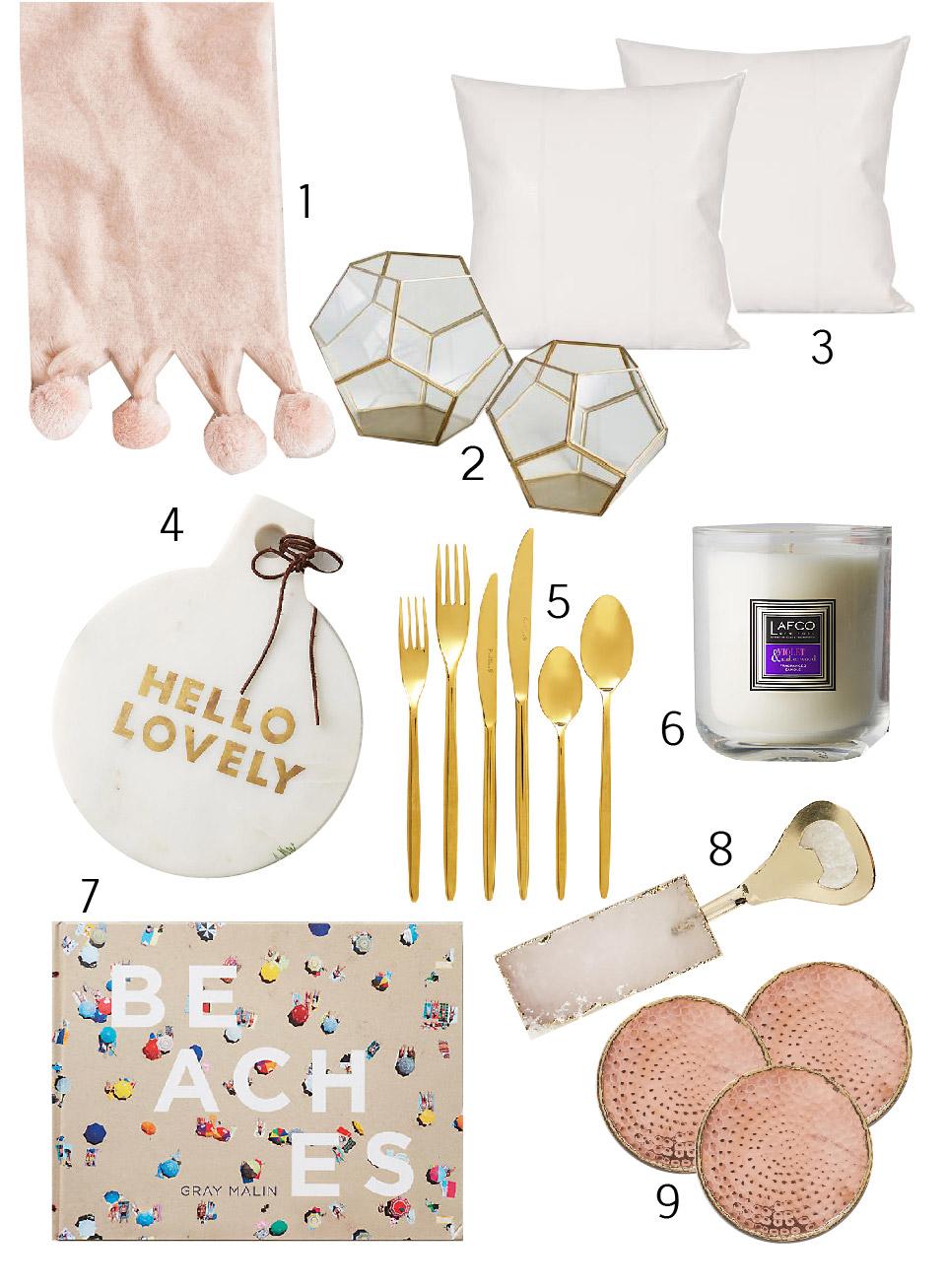 Thanksgiving hosteess gifts, beachy Thanksgiving decor, white holiday decor, blush decor