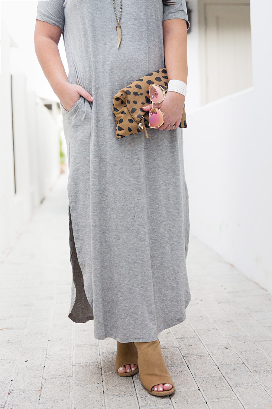 Grey Tshirt Maxi Nickel and Suede Leather Bracelet