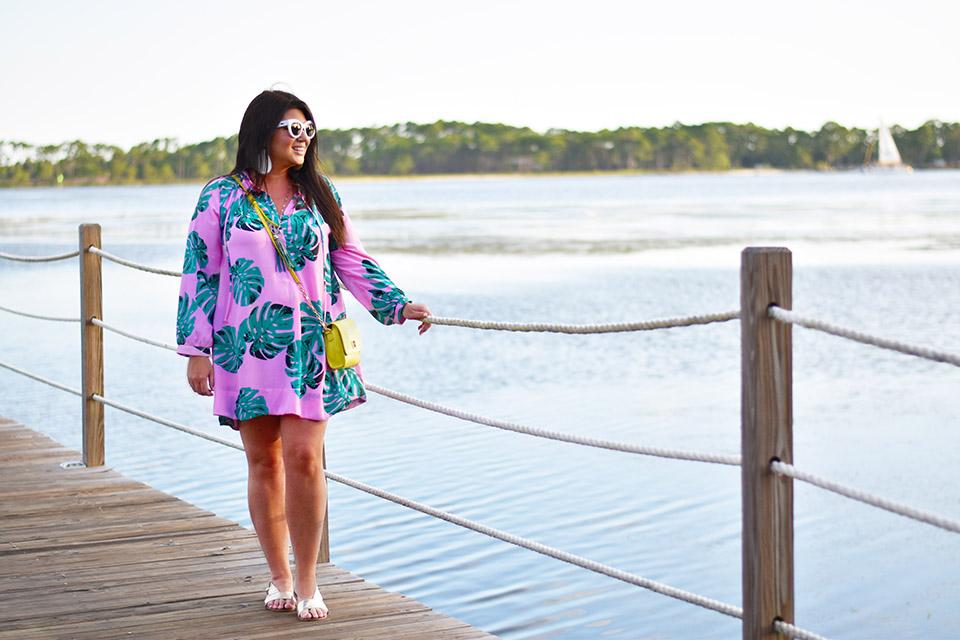 30A Street Style Sheraton Bay Point Boardwalk Palm Print