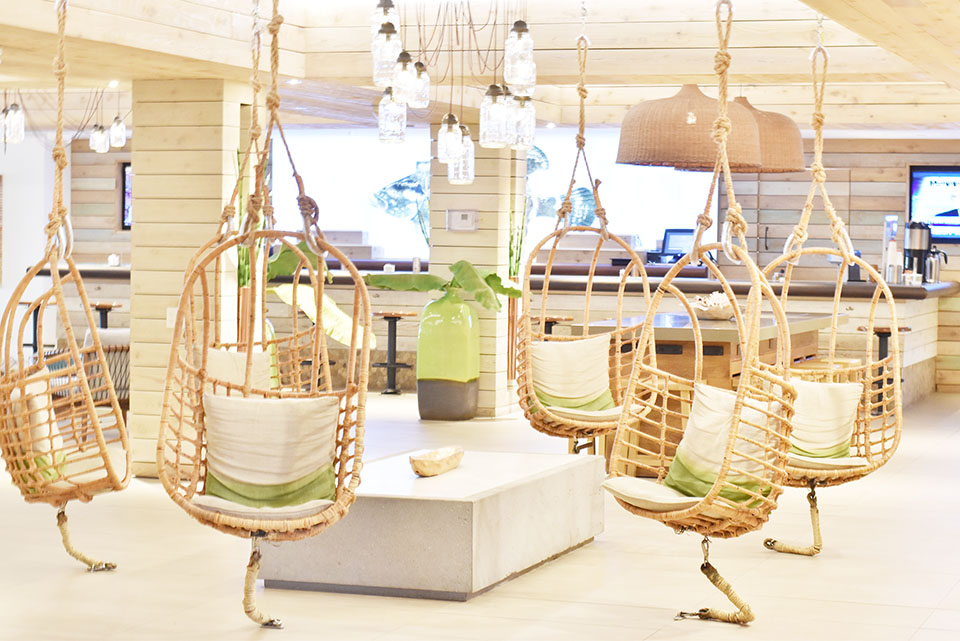 Amara Cay Resort Islamorada - Hanging Swing Chairs in Lobby - Jami Ray Travels