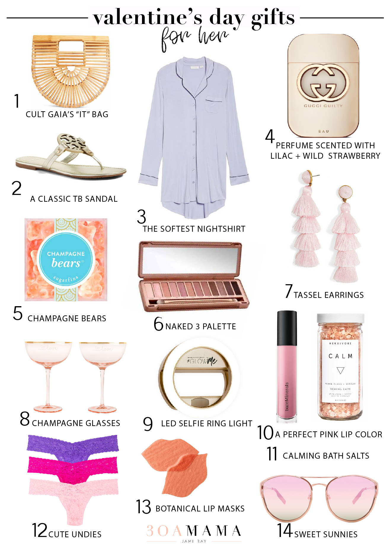 A roundup of Valentine's Day gifts for her including Tory Burch, Cult Gaia's it bag, Bare Minerals matte lip color, cute pajamas and more.