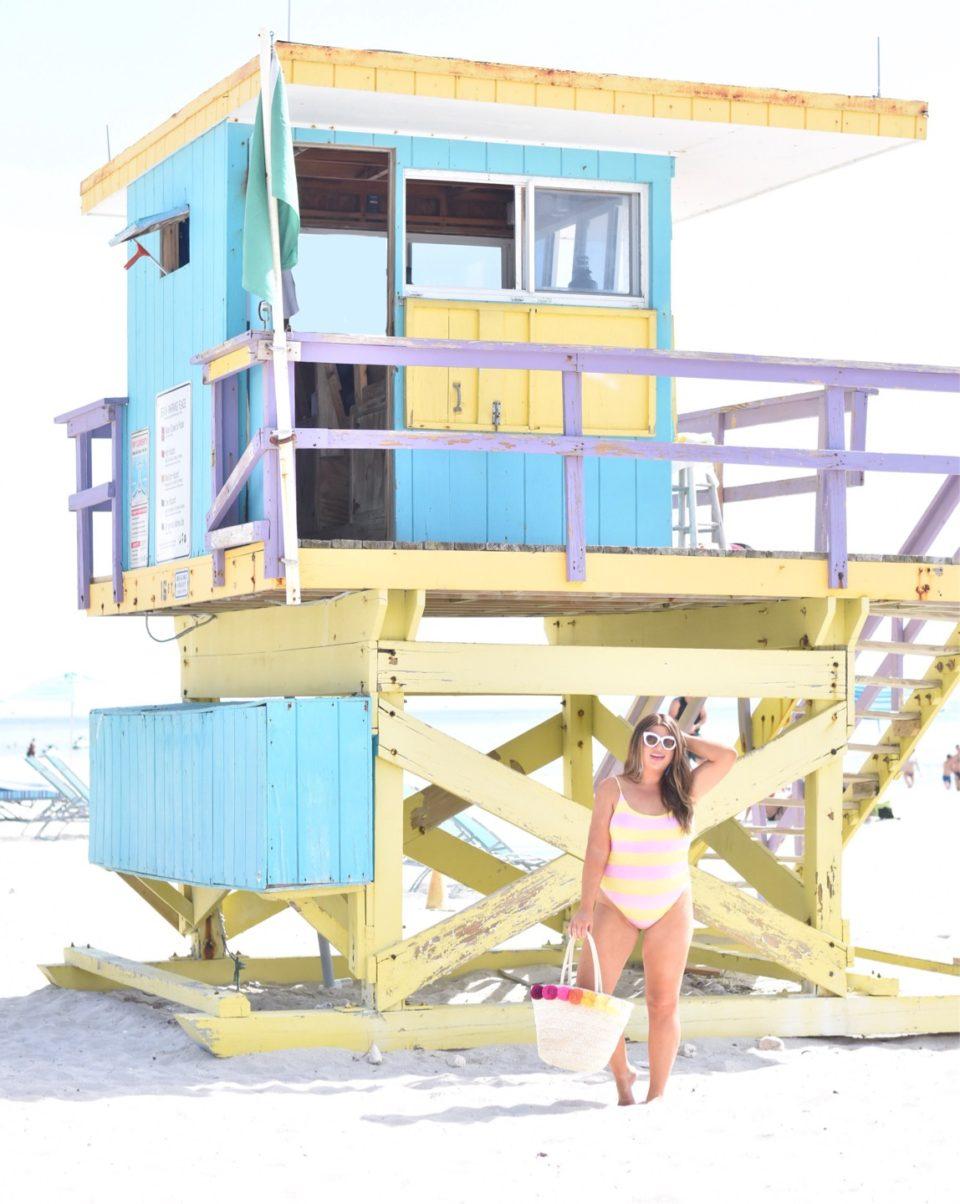 Miami Swim Week Jami Ray J Crew Striped One Piece
