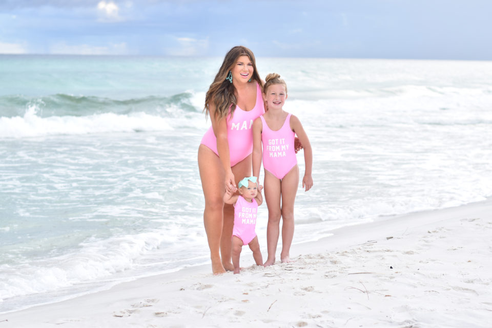30A Mama - Family Beach Day on Grayton Beach with matching mommy and me swimsuits