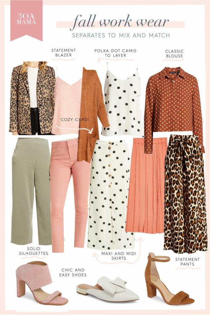 30A Mama Shopping - Fall Work Wear - Blush Rust Leopard Polka Dots