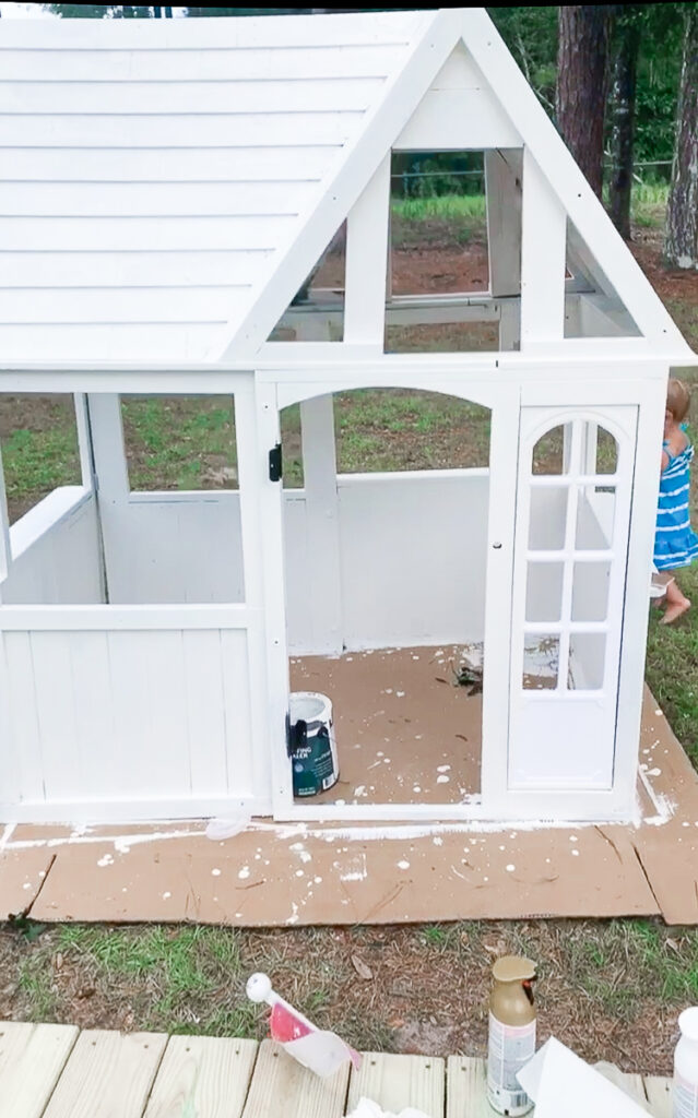 KidKraft Playhouse Makeover - Beach House 30A Mama Painting Solid Stain