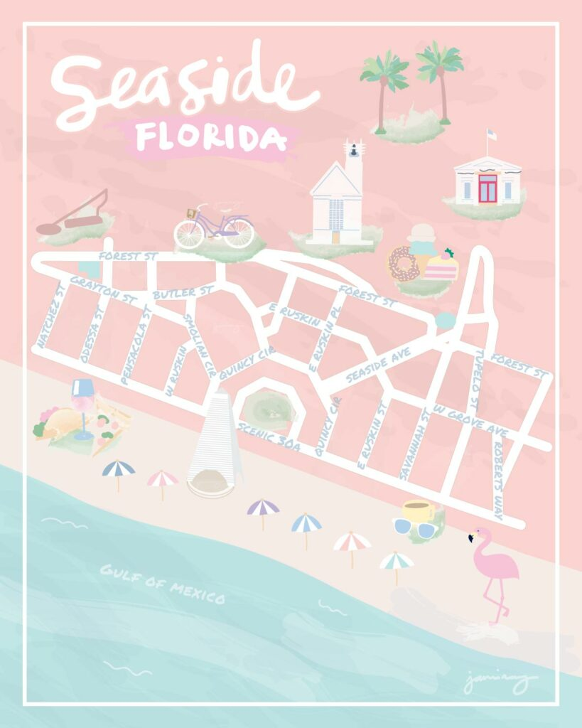 Seaside Florida Map copyright Jami Ray - 30A Map - 30A Mama