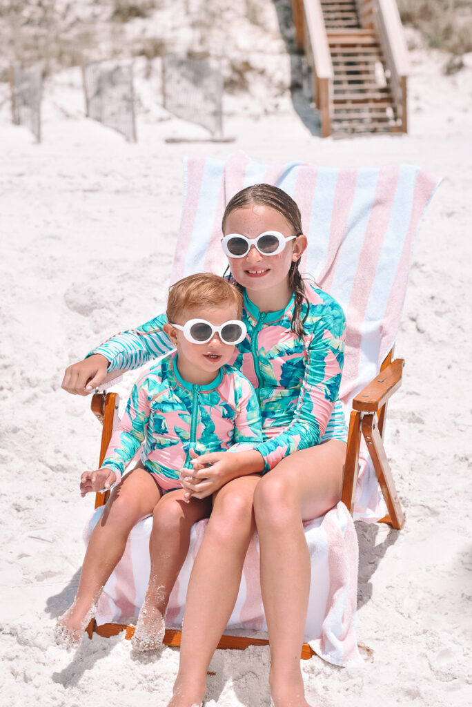 30A Mama wearing Cabana Life swimsuits - little beach babes