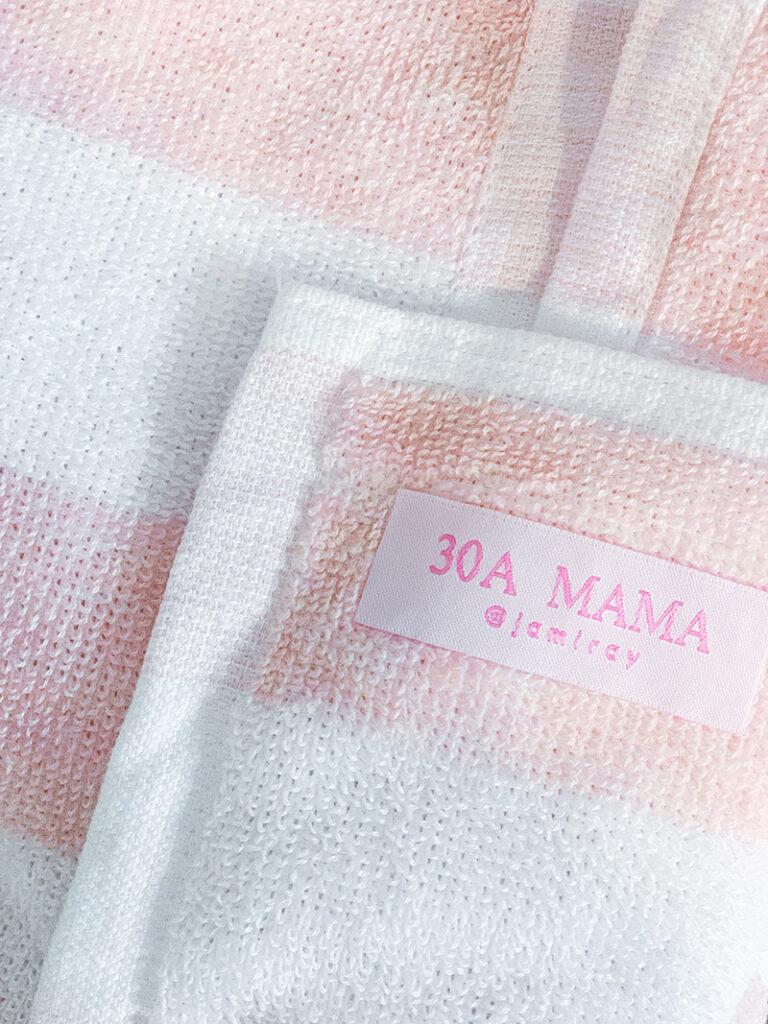 30A Mama Blush Beach Towel tag