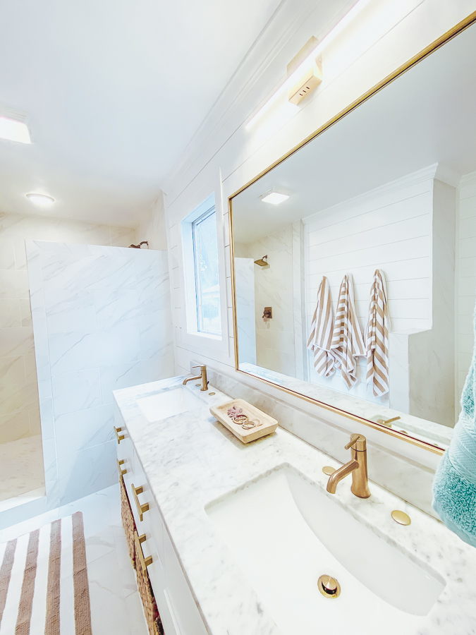 "30A Mama Beachy Bathroom Renovation - White Shiplap with Marble 72"" vanity"