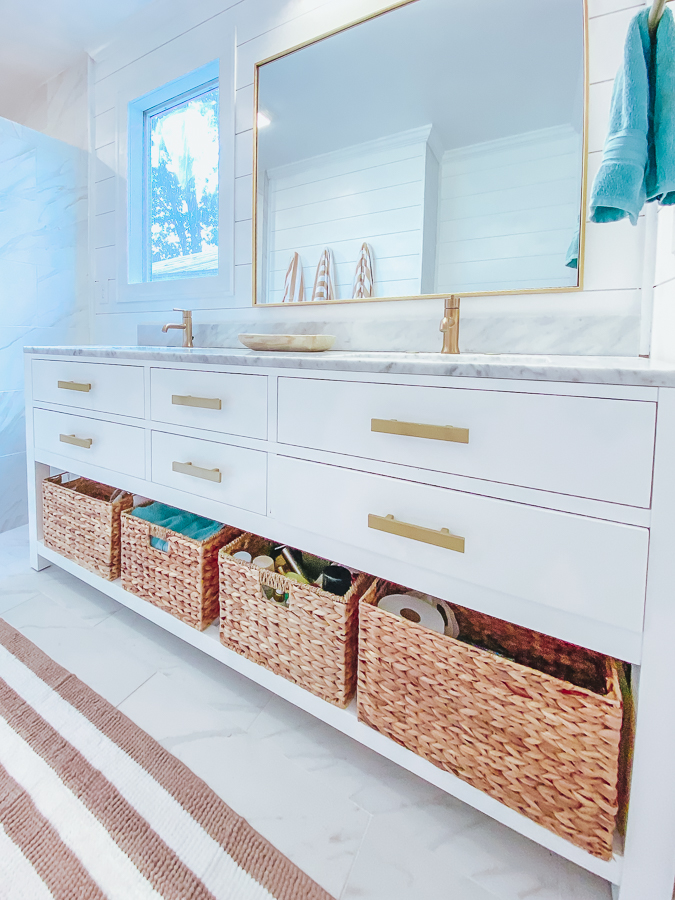 30A Mama Beachy Bathroom Renovation - White Shiplap with Champagne Bronze