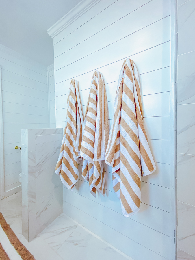 30A Mama Beachy Bathroom Renovation - tan stripe towels