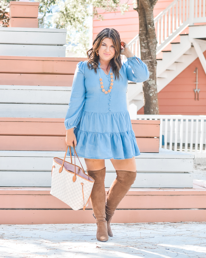 30A Mama Shop Small Town Girl Chambray Dress Tiered Skirt Seaside FL