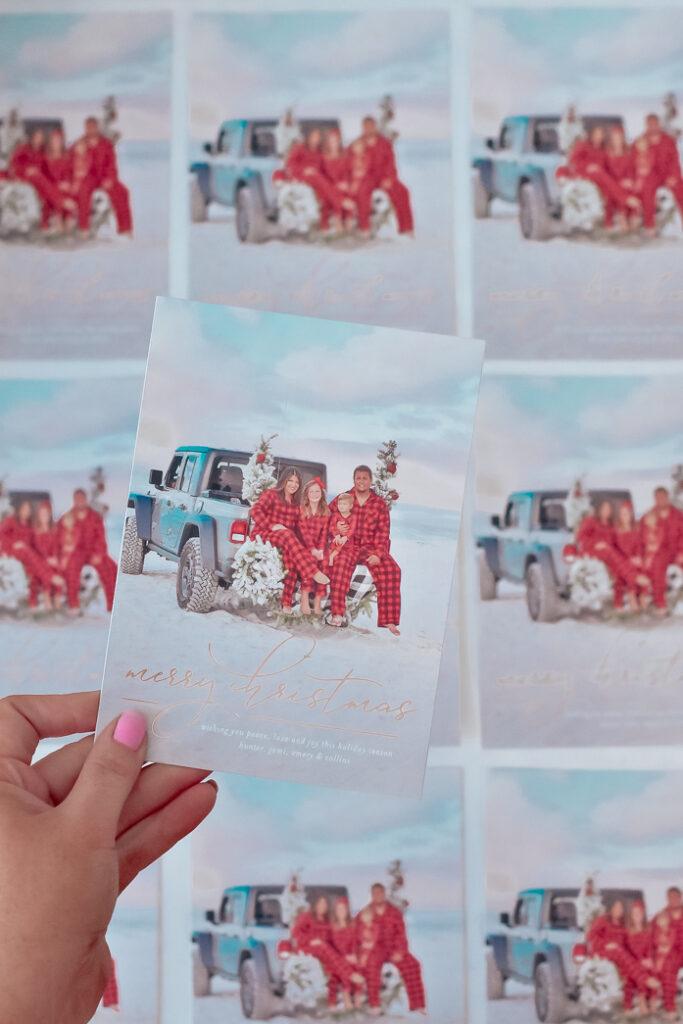 30A Mama Minted Christmas Card - jeep on the beach family portrait