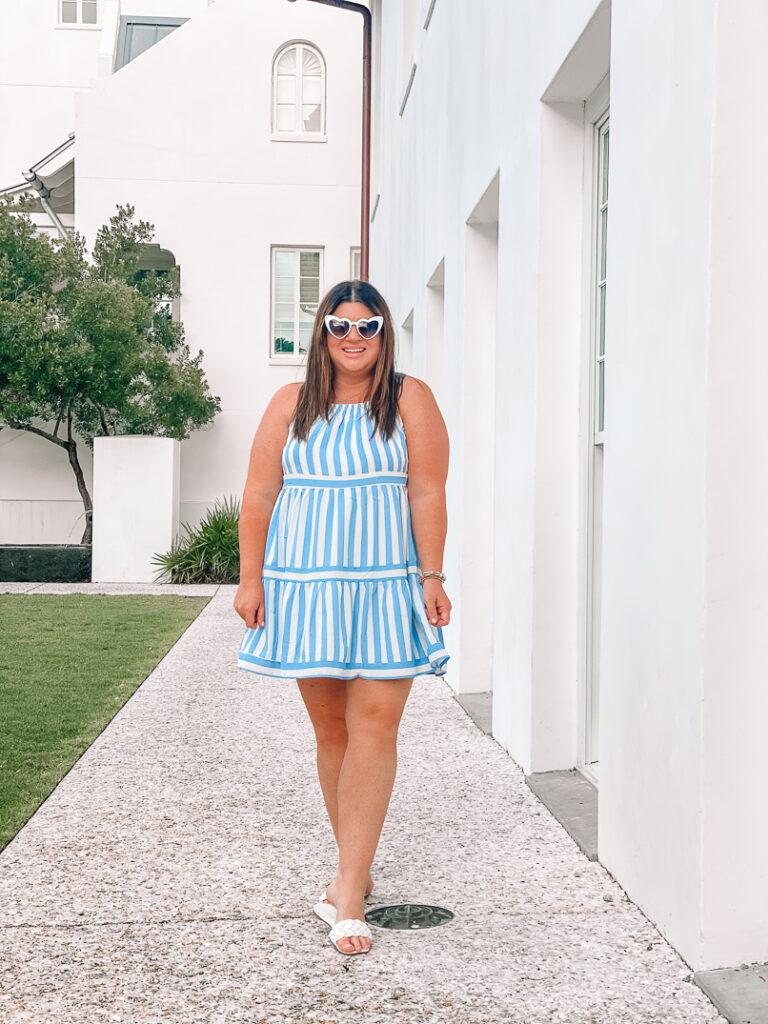 30A Mama - Cabana Stripe Dress Blue