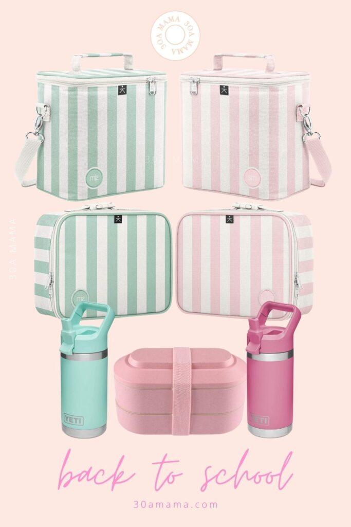 30A Mama Back to School Pink Stripe Lunchbox Yeti Waterbottle