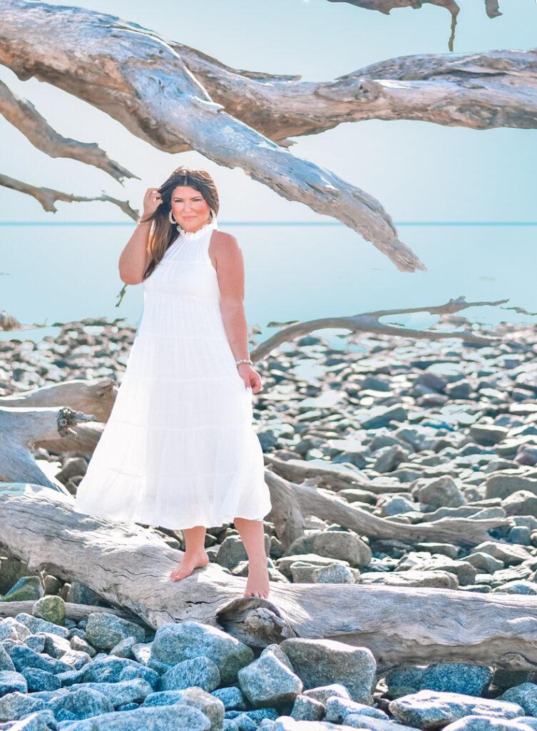 30A Mama Jekyll Island Trip Driftwood Beach white dress