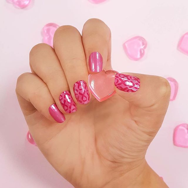 Color Street Pink Ribbon nail art design