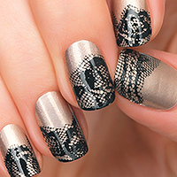 Behind the Scenes - Black lace over gold. Incoco Nail Art available at Ulta!
