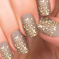 Invite Only - Gold Glitter over Nude - Incoco Nail Polish Appliques - available at Walmart