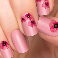 Painted Beauty - Incoco Nail Polish Appliques pink flower nail art design