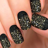 Sparkle On - Gold Glitter over Black polish
