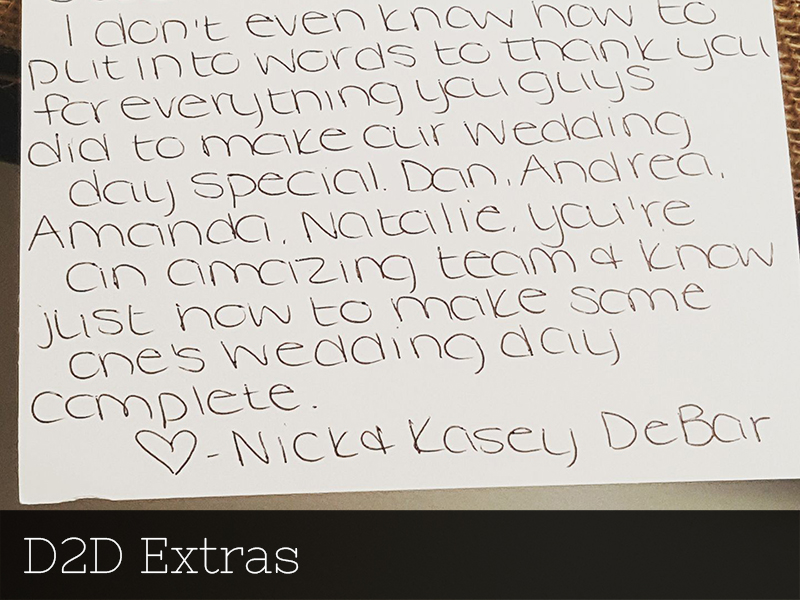 A photo of a thank you card from a bride to Studio D2D