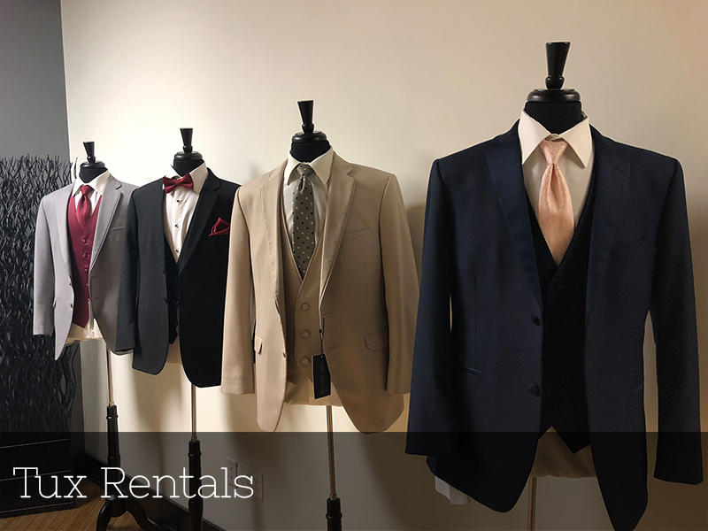 A photo of tuxedos available to rent at Studio D2D