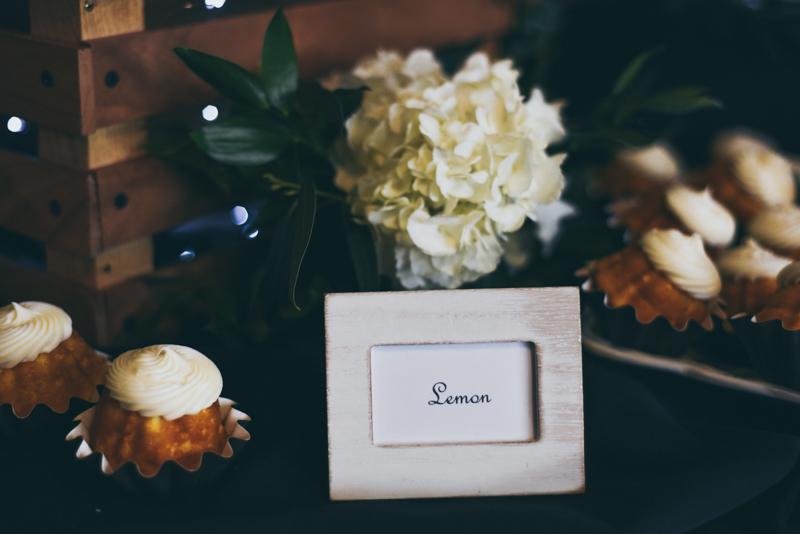 lemon sign near bundt cake display at reception