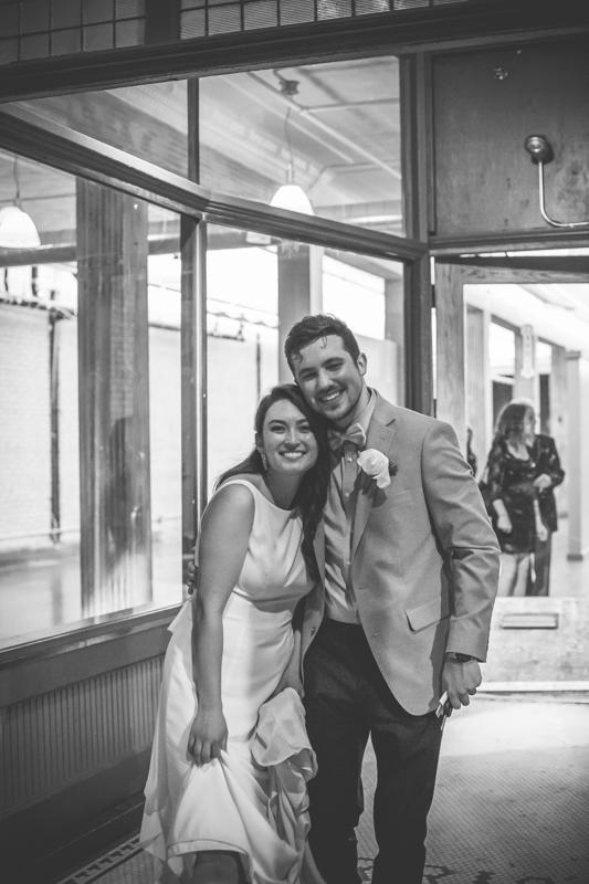 bride and groom departing wedding reception
