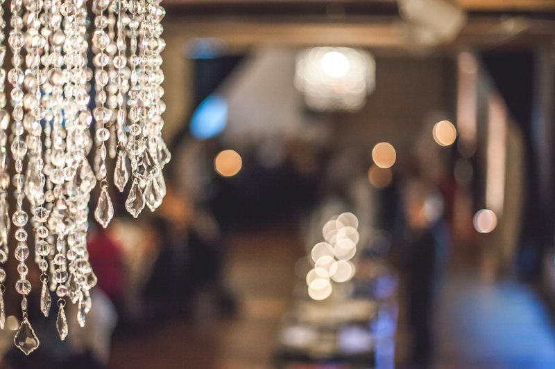 crystal chandeliers at a wedding venue