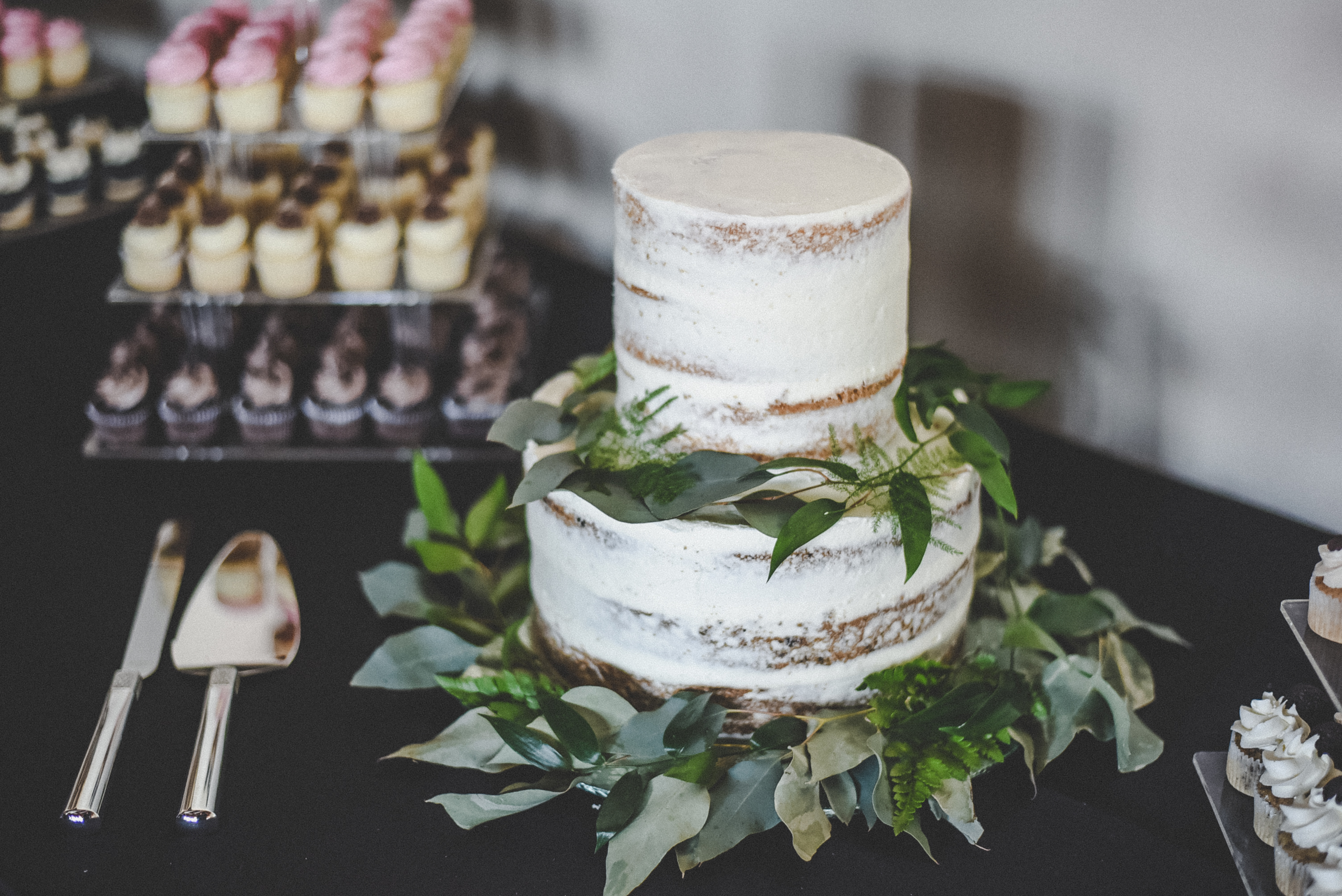 simple naked cake with greenery