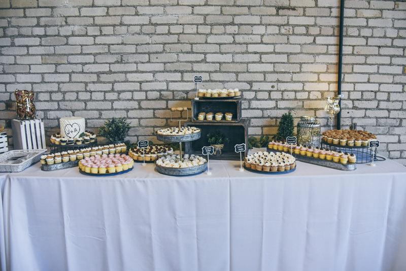 rustic wedding dessert display