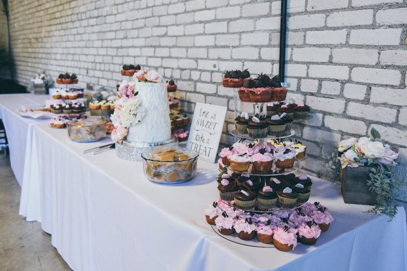 elegant cupcake display at a wedding