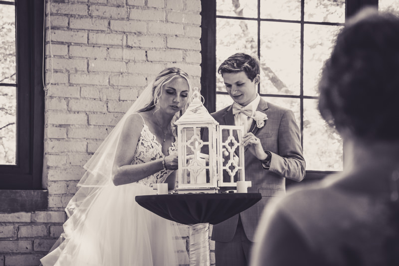 bride and groom at the altar during wedding ceremony