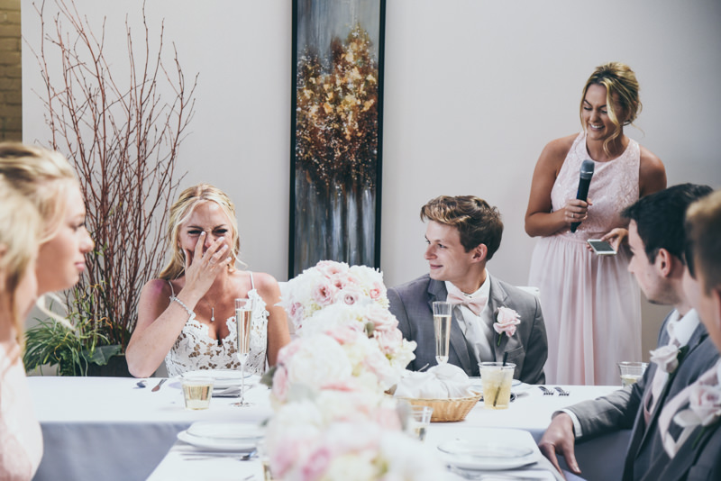 toasts during a wedding reception