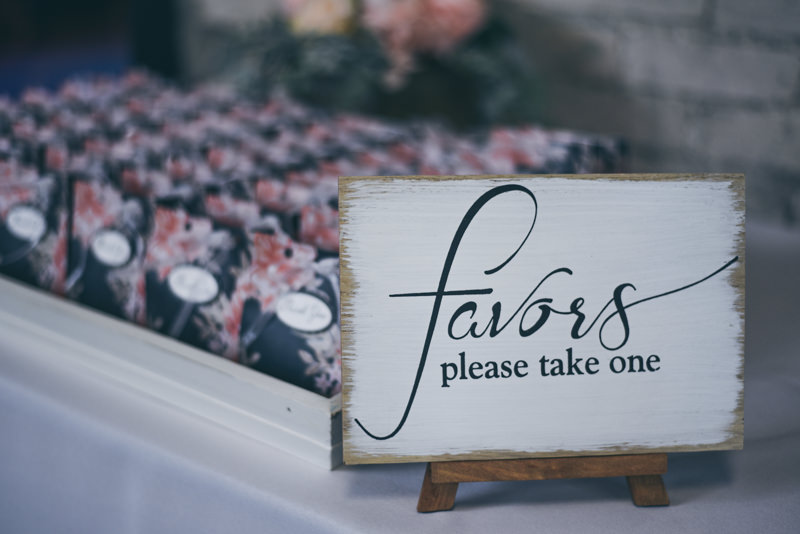 Wedding favors in a box with a little easel sign
