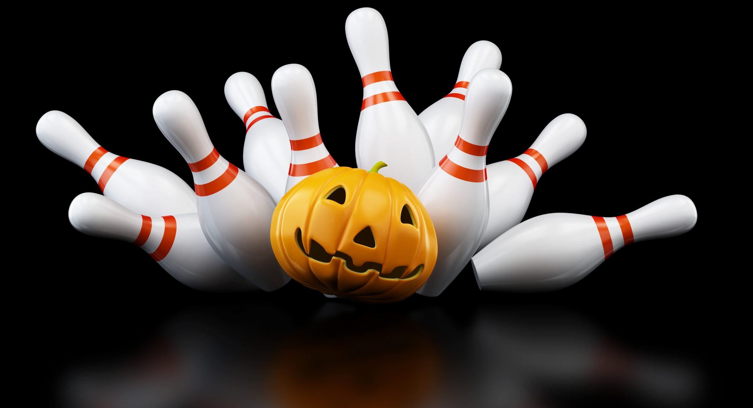 pumpkin crashing into the bowling pins