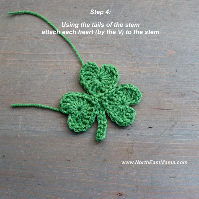 Crochet shamrock pattern step 4