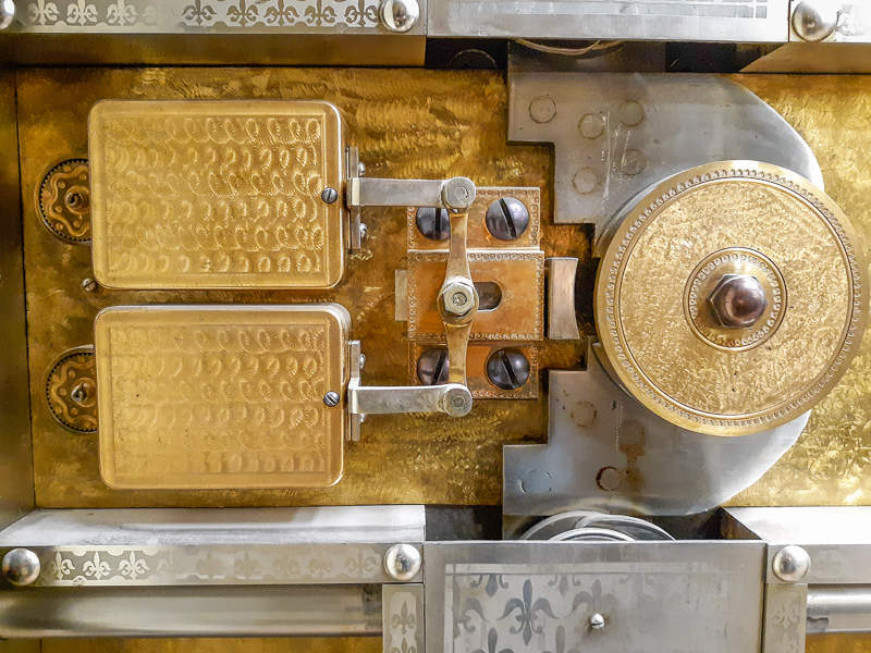 Close up of a former bank vault  lock