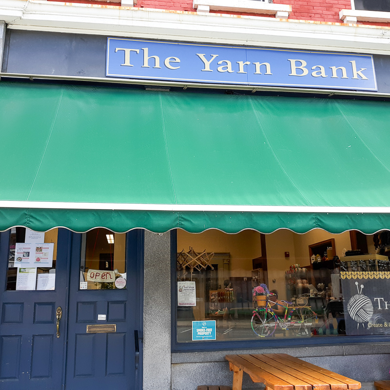 Picture of the storefront of The Yarn Bank in St. Johnsbury, VT