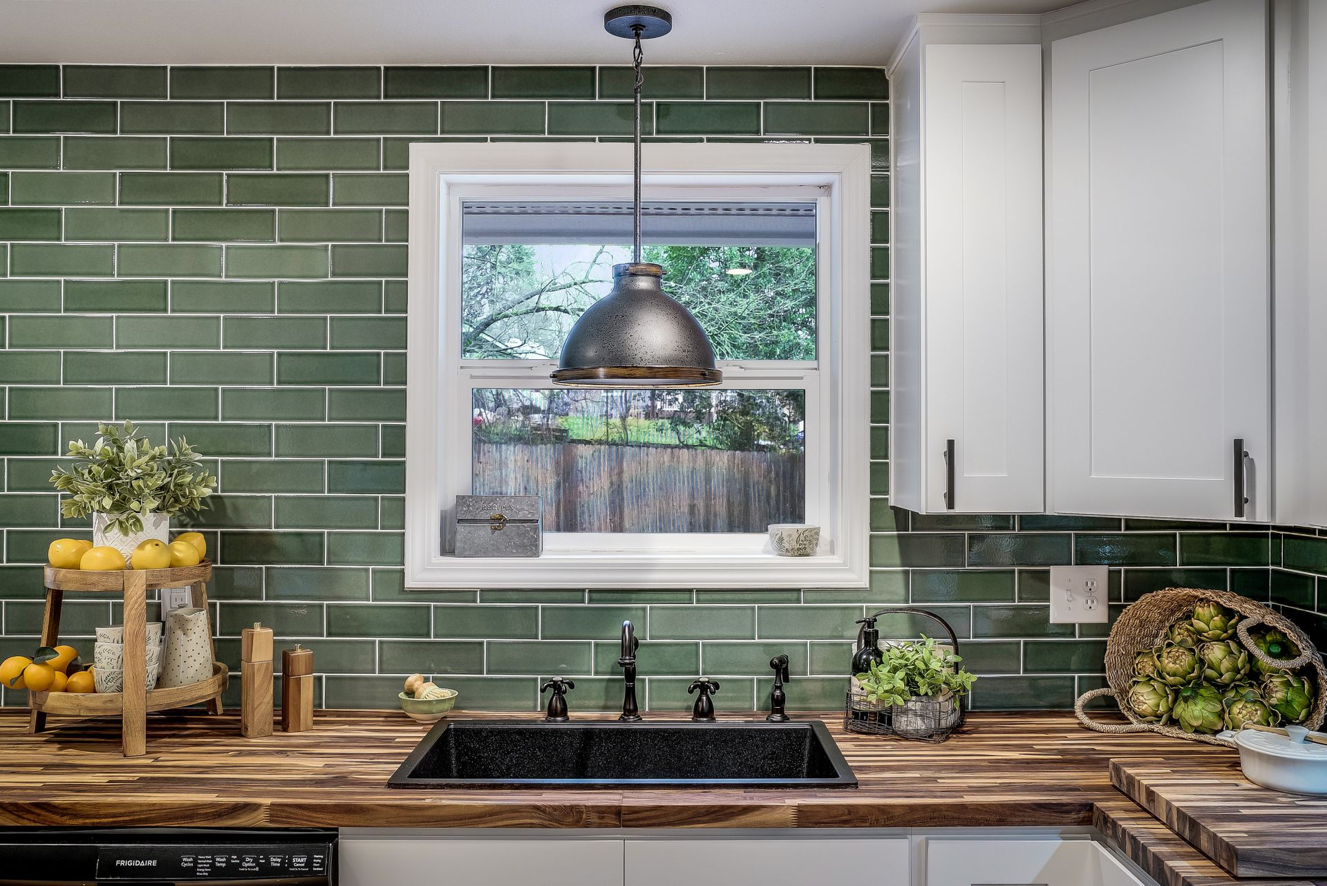 green kitchen backsplash installation