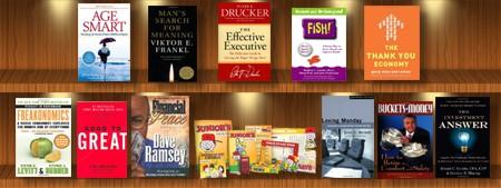 financial reading bookshelf
