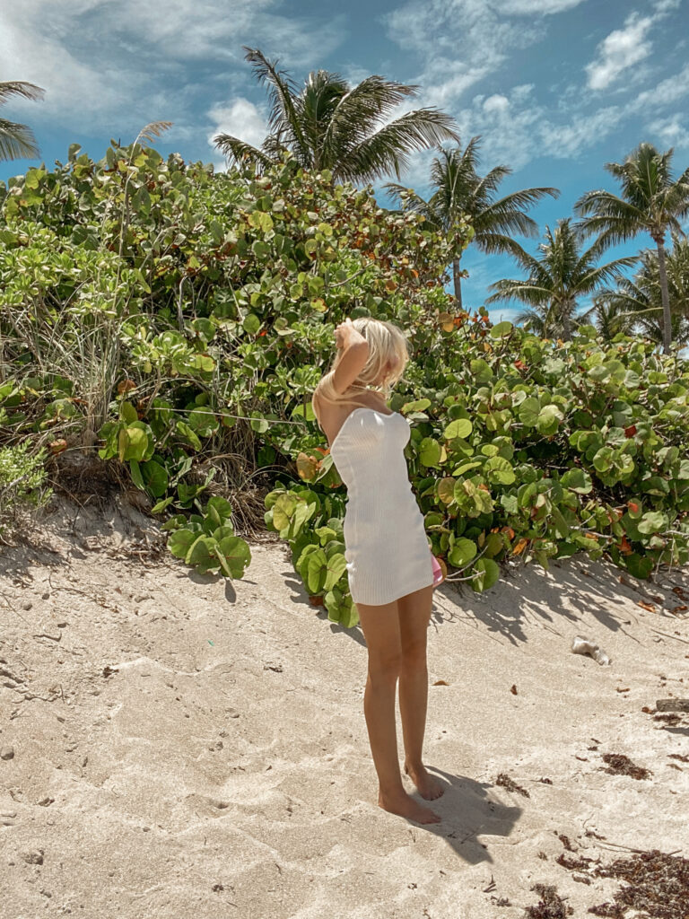 what to pack for your beach vacation . vacation dress . summer dresses . REVOLVE-Superdown-Joanna-Strapless-Knit-dress-white